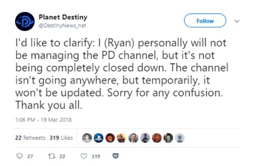 Planet Destiny tweet